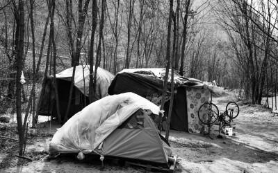 Obdachlose am Eisackufer, Bozen, 26.03.2021